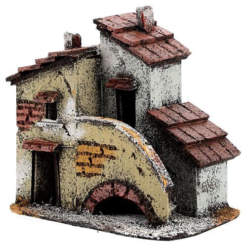 Casa em miniatura escada, telhado e chaminés para presépio napolitano com figuras altura média 3 cm, medidas: 13,5x14x9 cm 2