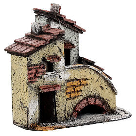 Miniature house with stairs for Neapolitan Nativity Scene with 3 cm figurines 15x15x10 cm s3