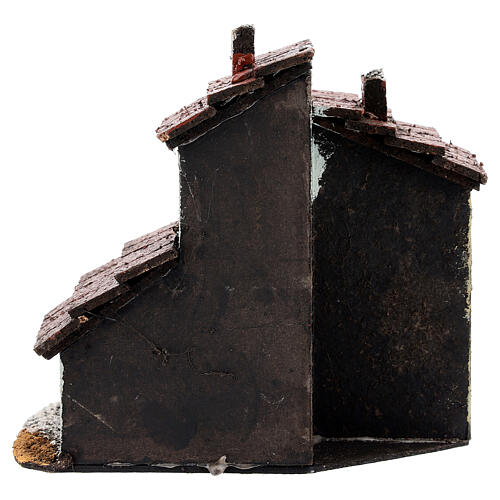 Miniature house with stairs for Neapolitan Nativity Scene with 3 cm figurines 15x15x10 cm 4