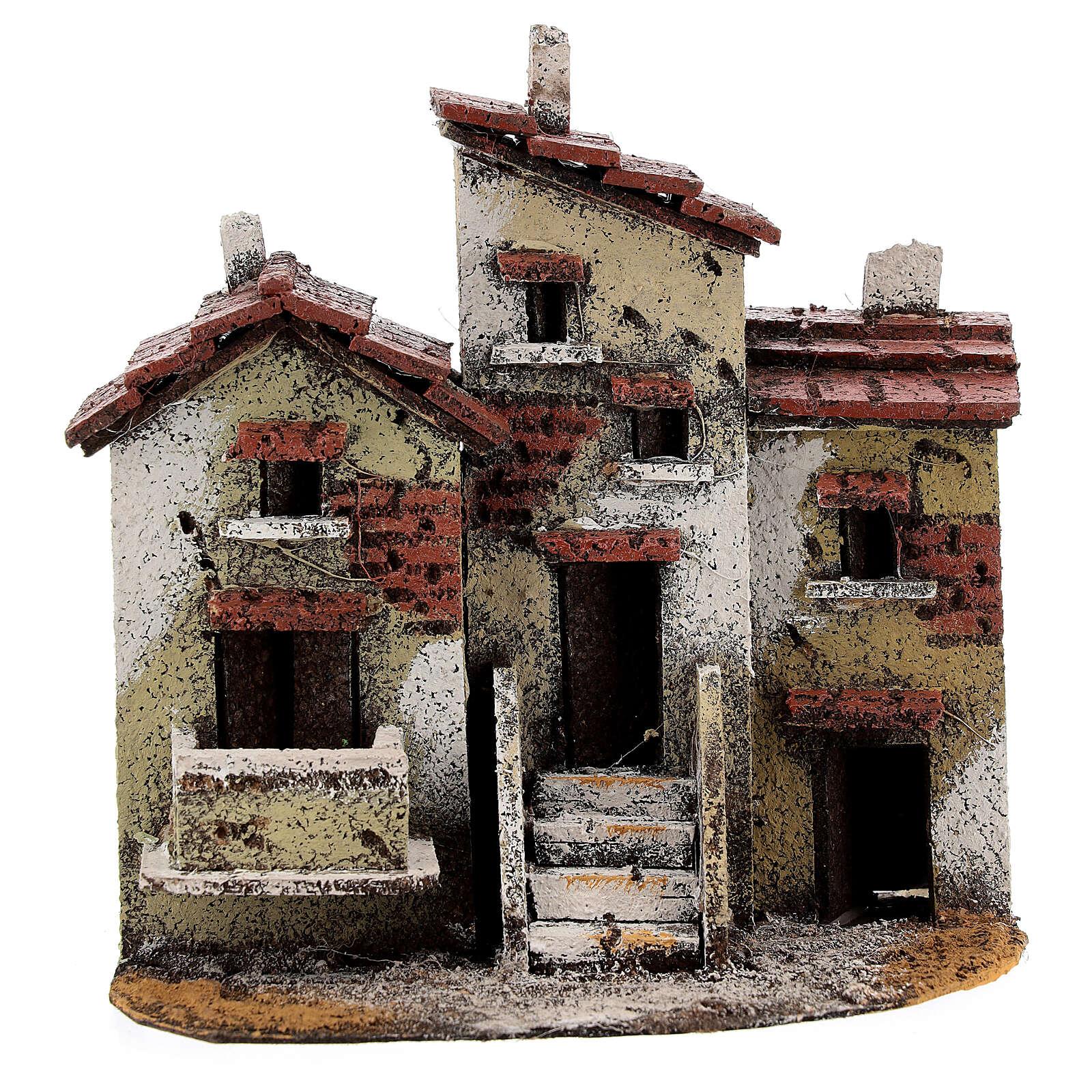 Three houses cork Neapolitan Nativity scene 15x15x10 for statues 3 cm 4