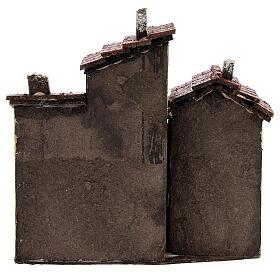 Three houses cork Neapolitan Nativity scene 15x15x10 for statues 3 cm s4