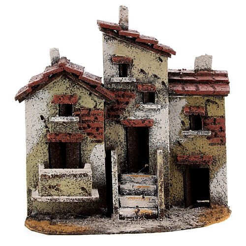 Three houses cork Neapolitan Nativity scene 15x15x10 for statues 3 cm 1