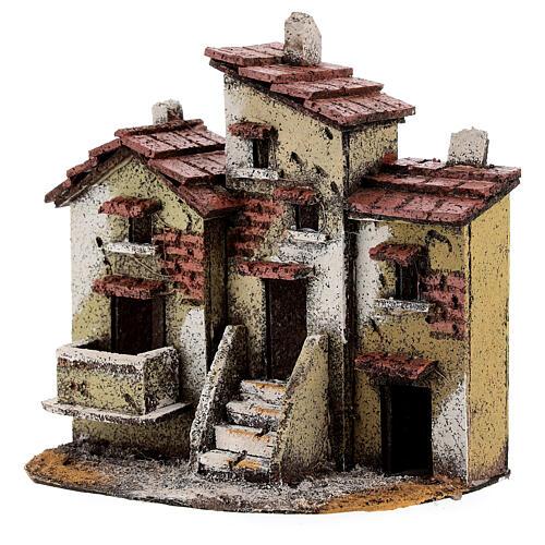Three houses cork Neapolitan Nativity scene 15x15x10 for statues 3 cm 2