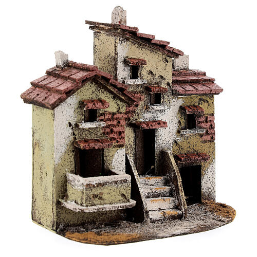 Three houses cork Neapolitan Nativity scene 15x15x10 for statues 3 cm 3