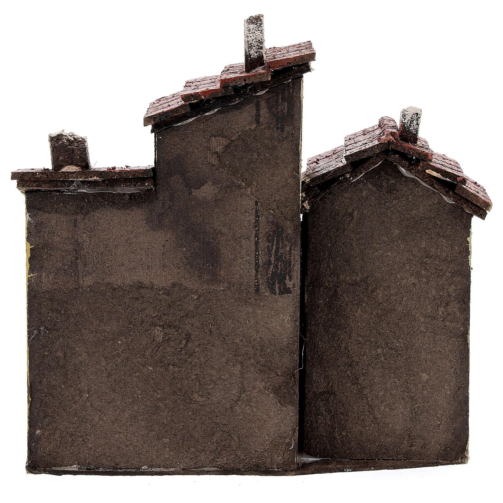Tre case sughero presepe napoletano 15x15x10 per statue 3 cm 4