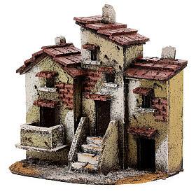 Three cork houses Neapolitan Nativity Scene 15x15x10 cm for 3 cm figurines s2