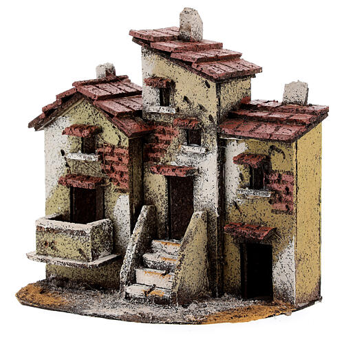 Three cork houses Neapolitan Nativity Scene 15x15x10 cm for 3 cm figurines 2