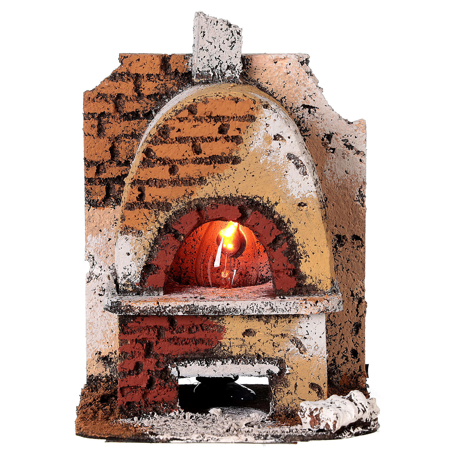 Cork oven with light fire effect 15x10x10 cm for Neapolitan Nativity Scene with 8-10 cm figurines 4