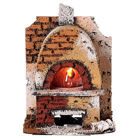 Cork oven with light fire effect 15x10x10 cm for Neapolitan Nativity Scene with 8-10 cm figurines s1