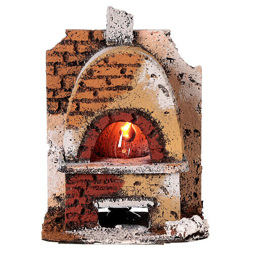 Cork oven with light fire effect 15x10x10 cm for Neapolitan Nativity Scene with 8-10 cm figurines 1