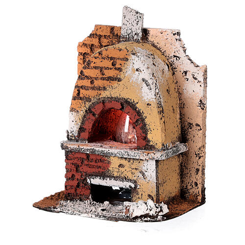 Cork oven with light fire effect 15x10x10 cm for Neapolitan Nativity Scene with 8-10 cm figurines 2