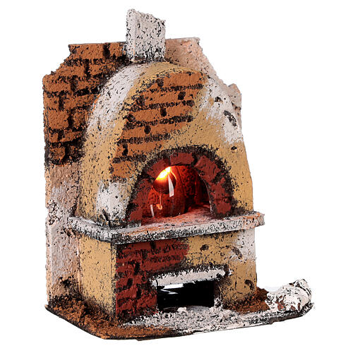 Cork oven with light fire effect 15x10x10 cm for Neapolitan Nativity Scene with 8-10 cm figurines 3