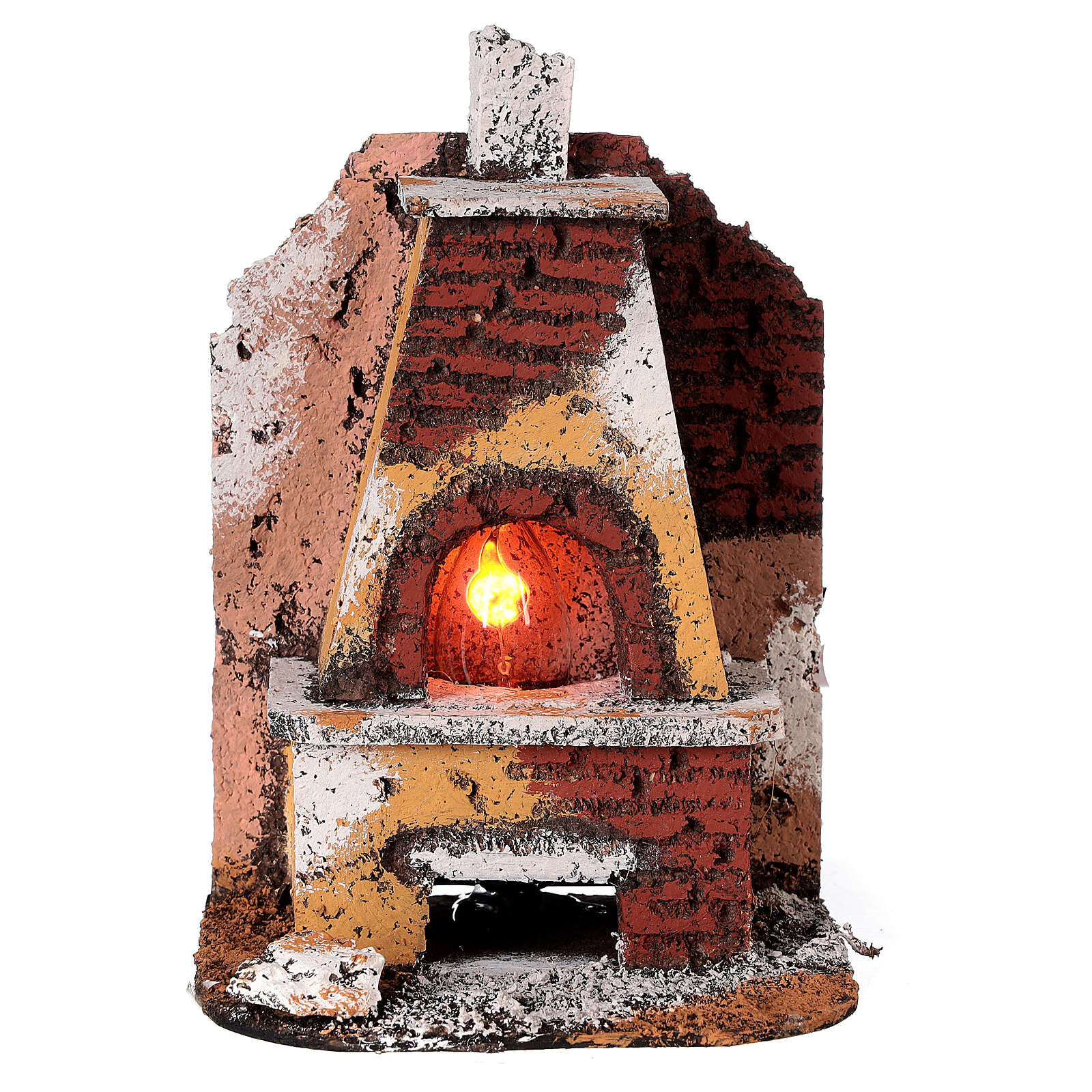 Masonry oven with light fire effect 15x10x10 cm for Neapolitan Nativity Scene with 8-10 cm figurines 4