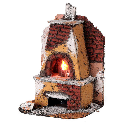 Masonry oven with light fire effect 15x10x10 cm for Neapolitan Nativity Scene with 8-10 cm figurines 2