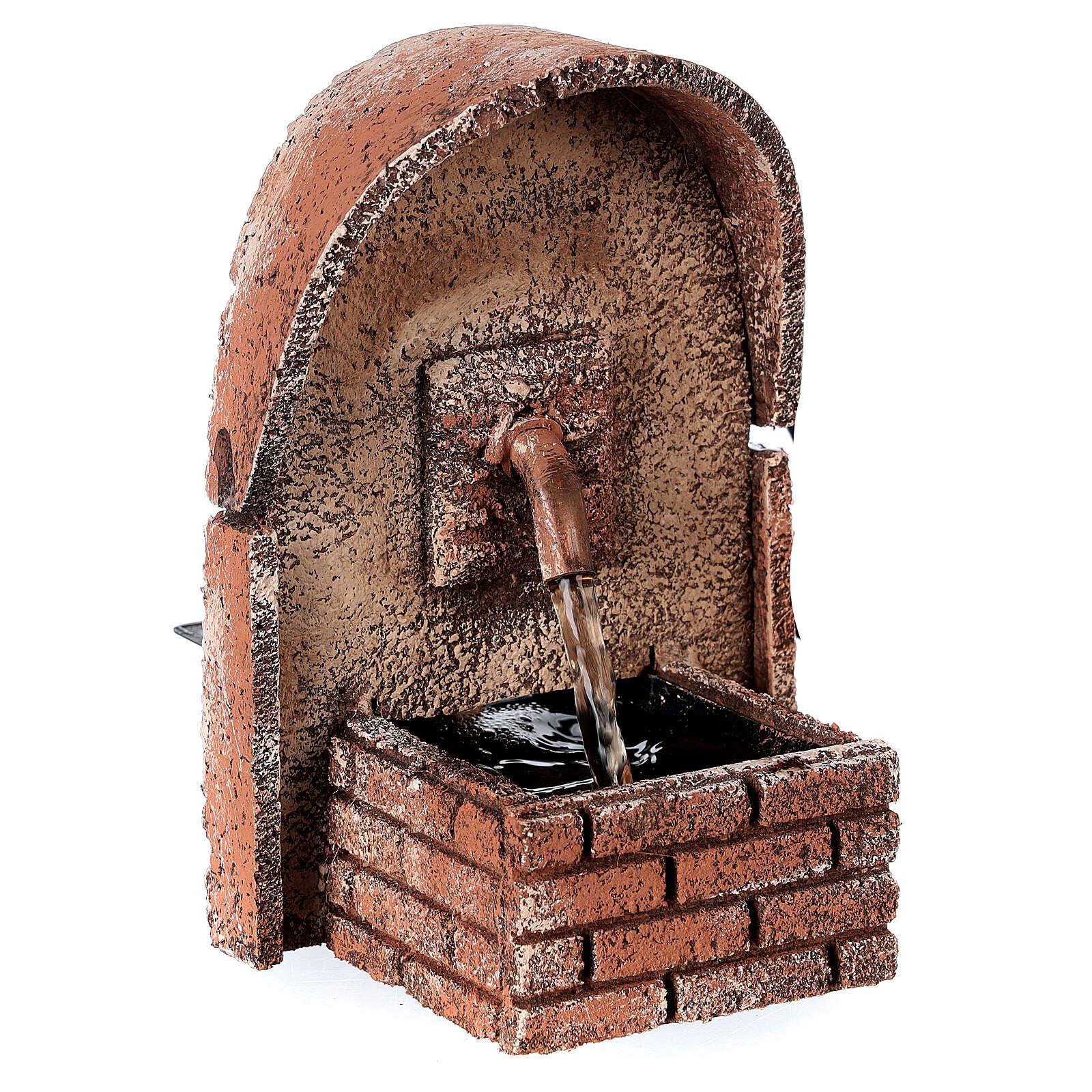 Fonte de água com cobertura em arco miniatura cortiça para presépio com figuras de altura média 8-10 cm, medidas: 14x10x11,5 cm 4