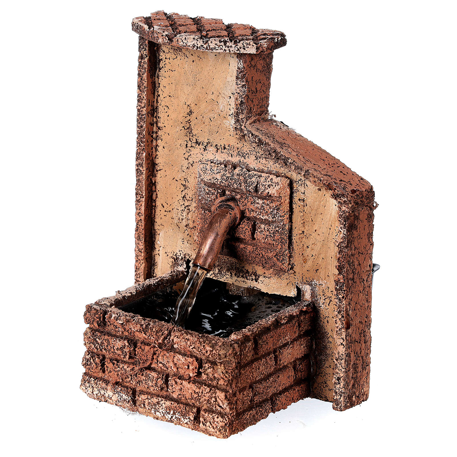 Working fountain Neapolitan Nativity scene 10-12 cm cork 15x10x10 cm 4