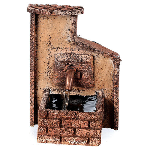Working fountain Neapolitan Nativity scene 10-12 cm cork 15x10x10 cm 1