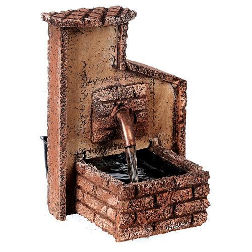 Working fountain Neapolitan Nativity scene 10-12 cm cork 15x10x10 cm 2