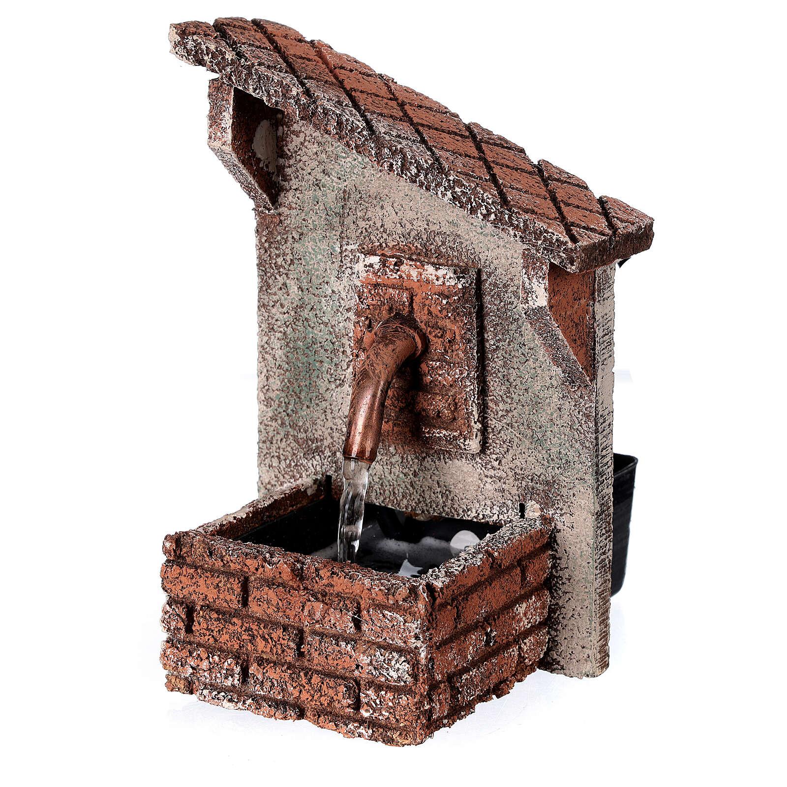 Fountain oblique roof Neapolitan Nativity scene 15x10x10 cm for statues 8-10 cm 4