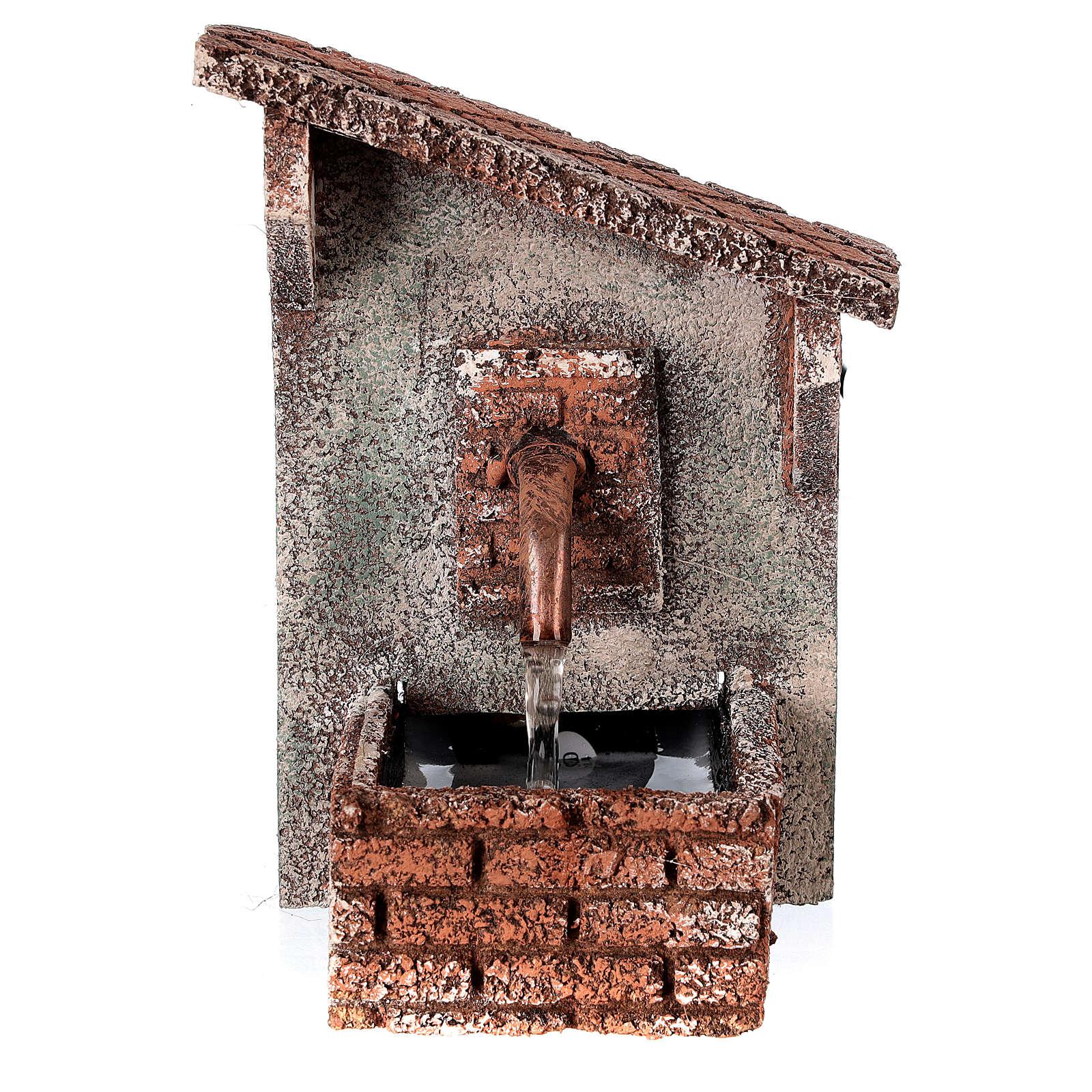 Fontanário funcionante com telhado oblíquo miniatura para presépio napolitano com figuras de altura média 8-10 cm, medidas: 15x9x11,5 cm 4
