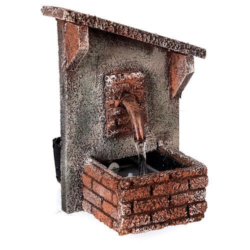 Fontanário funcionante com telhado oblíquo miniatura para presépio napolitano com figuras de altura média 8-10 cm, medidas: 15x9x11,5 cm 2