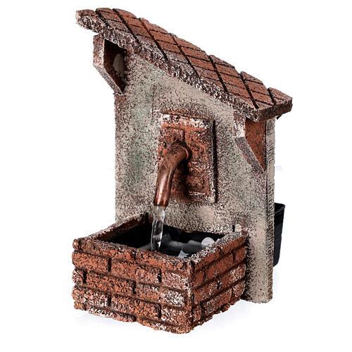 Fontanário funcionante com telhado oblíquo miniatura para presépio napolitano com figuras de altura média 8-10 cm, medidas: 15x9x11,5 cm 3