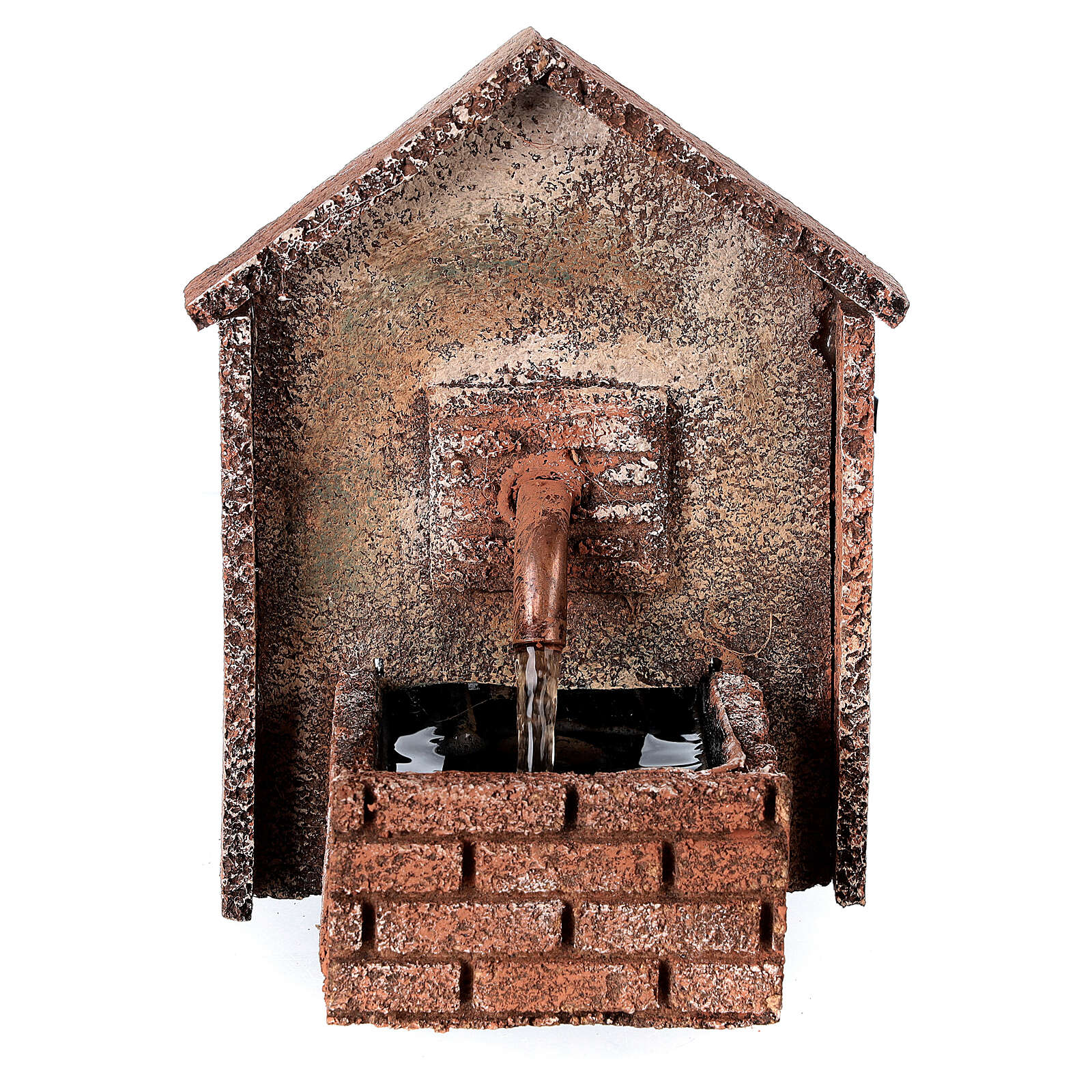 Working fountain for Neapolitan Nativity scene sloping roof 14x10x10 cm 4