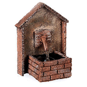 Working fountain for Neapolitan Nativity scene sloping roof 14x10x10 cm s2