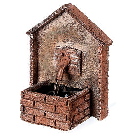 Working fountain for Neapolitan Nativity scene sloping roof 14x10x10 cm s3