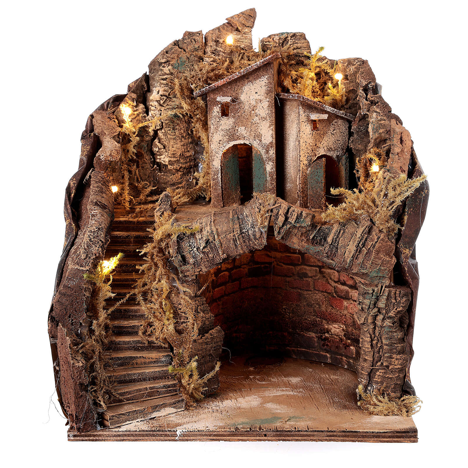 Stable with village for Neapolitan Nativity Scene with 6 cm figurines 35x25x20 cm 4