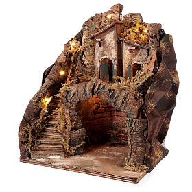 Stable with village for Neapolitan Nativity Scene with 6 cm figurines 35x25x20 cm s2