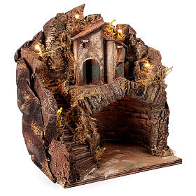 Stable with village for Neapolitan Nativity Scene with 6 cm figurines 35x25x20 cm s3