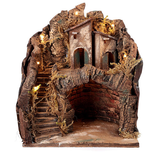 Stable with village for Neapolitan Nativity Scene with 6 cm figurines 35x25x20 cm 1