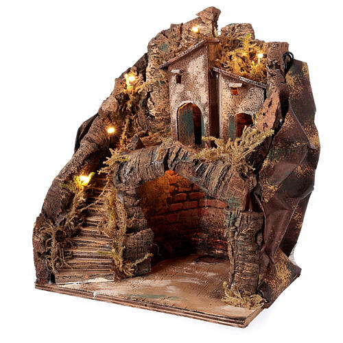 Stable with village for Neapolitan Nativity Scene with 6 cm figurines 35x25x20 cm 2