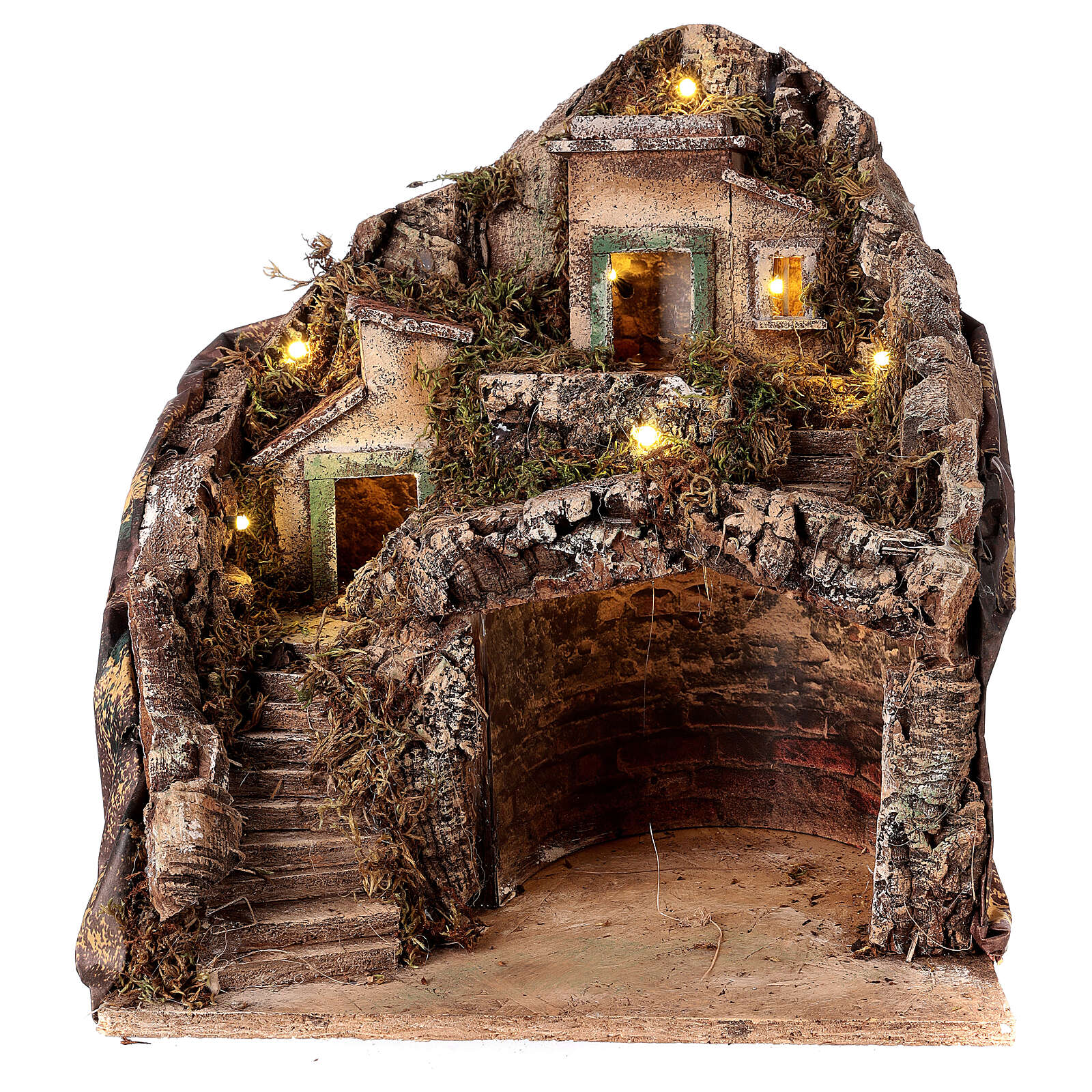 Mountain hamet with houses and stable for Neapolitan Nativity Scene with 6 cm figurines 30x35x35 cm 4