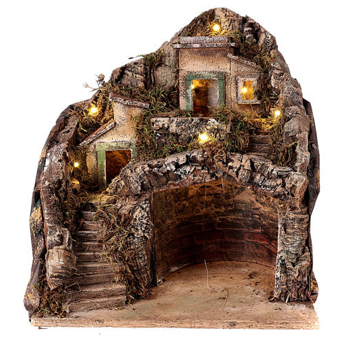 Mountain hamet with houses and stable for Neapolitan Nativity Scene with 6 cm figurines 30x35x35 cm 1