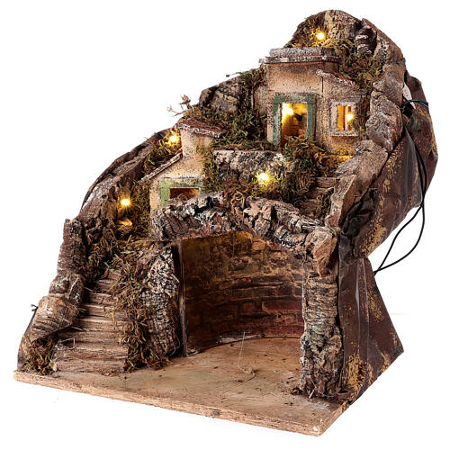Mountain hamet with houses and stable for Neapolitan Nativity Scene with 6 cm figurines 30x35x35 cm 2