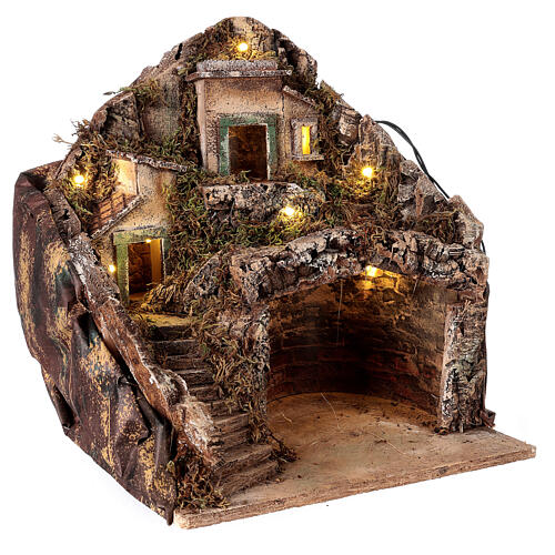 Mountain hamet with houses and stable for Neapolitan Nativity Scene with 6 cm figurines 30x35x35 cm 3