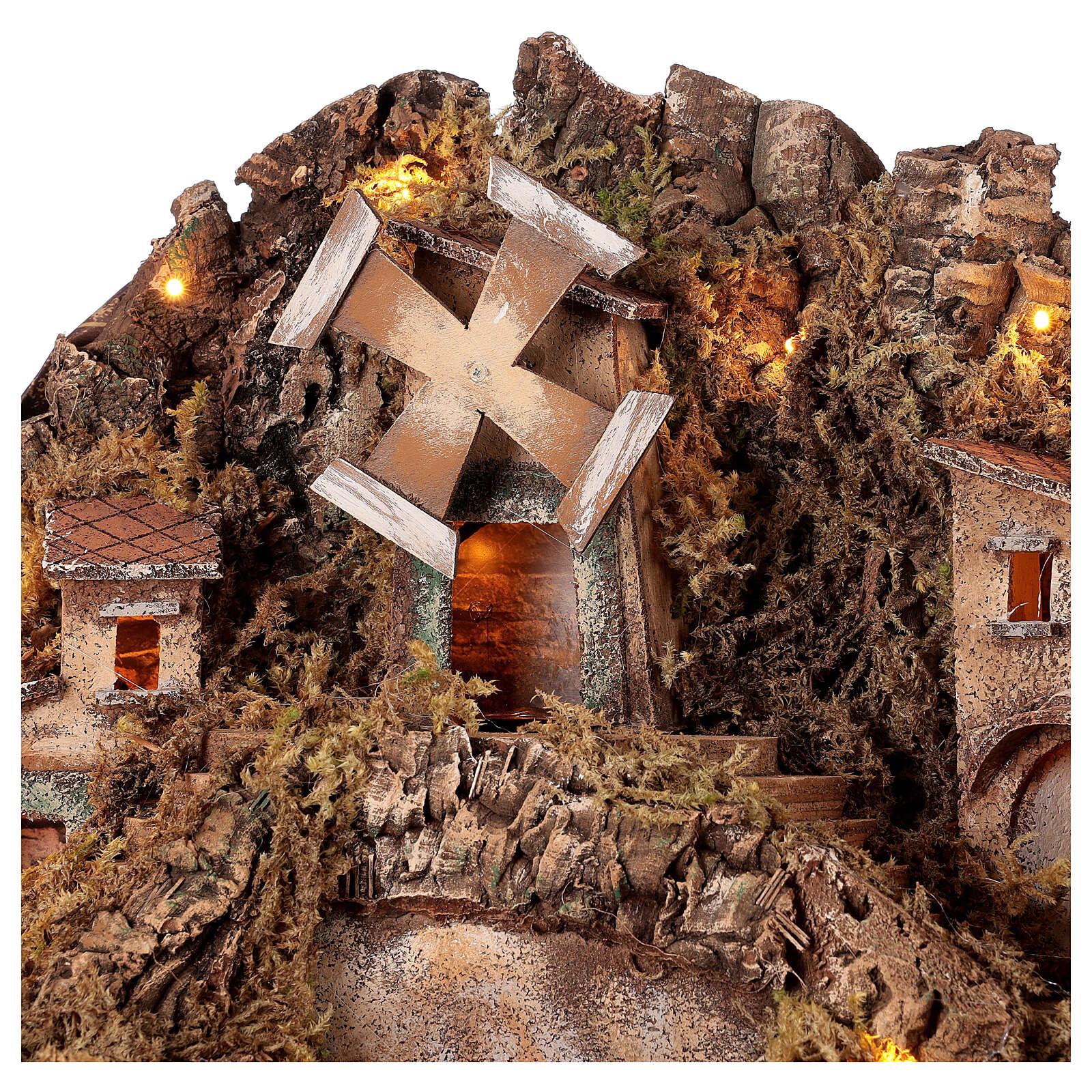 Ambientação fontanário e moinho de vento para presépio napolitano com figuras de altura média 10-12 cm, medidas: 50x61x52 cm 4