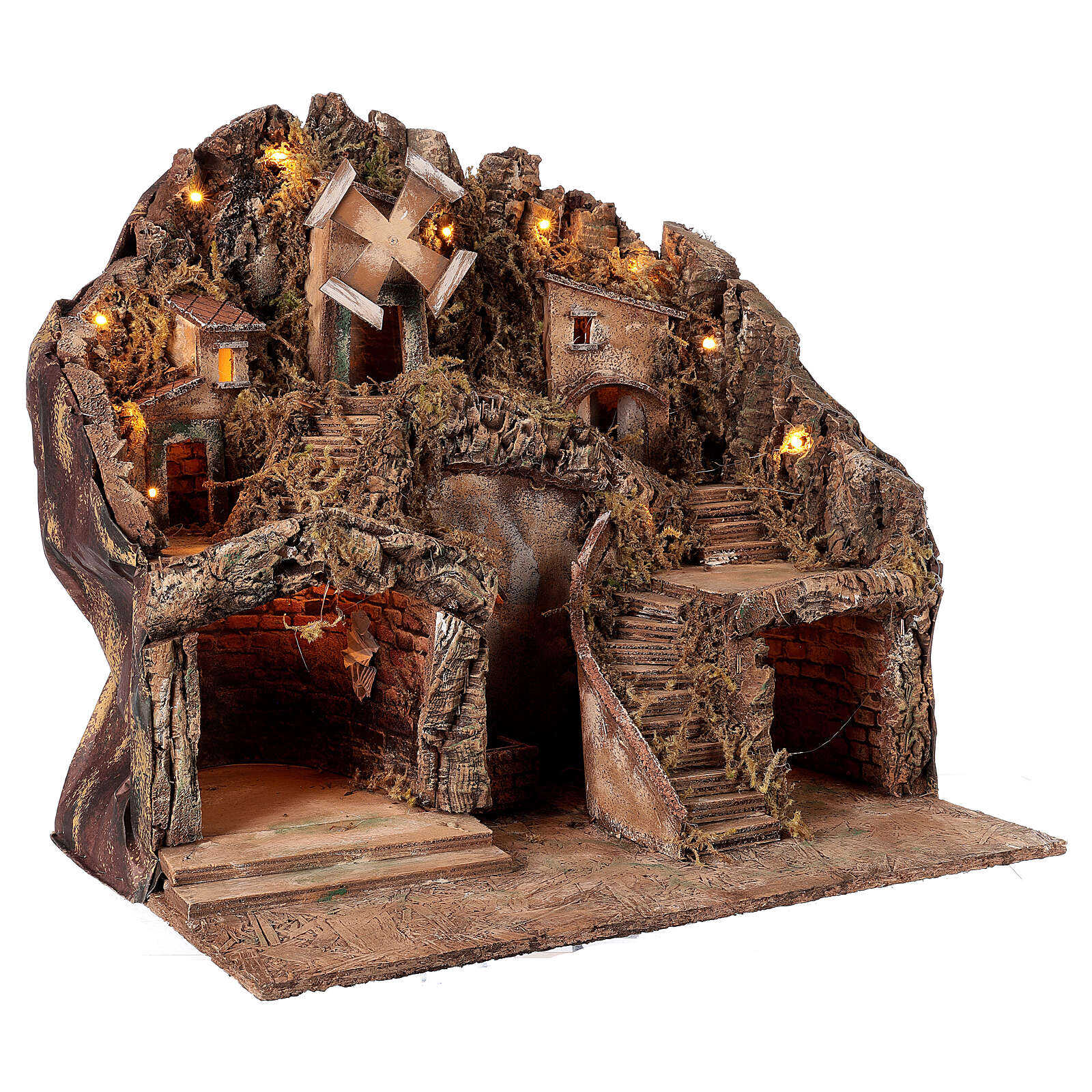 Neapolitan Nativity Scene setting fountain and windmill for 10-12 cm figurines 50x60x50 cm 4