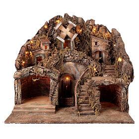 Neapolitan Nativity Scene setting fountain and windmill for 10-12 cm figurines 50x60x50 cm s1
