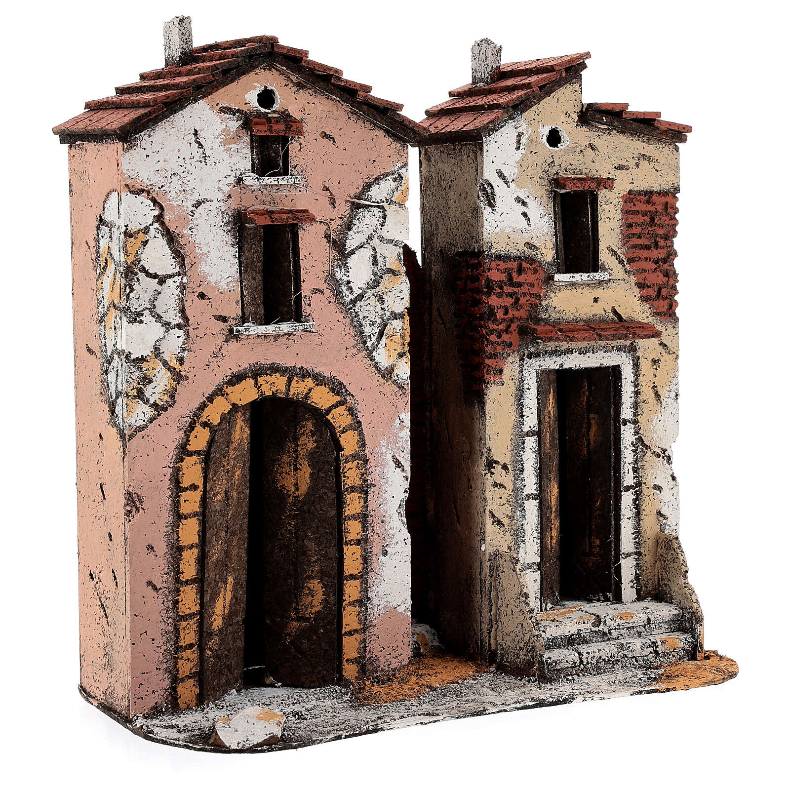 Pair of two-storey cork houses Neapolitan Nativity scene 25x25x10 for statues 10 cm 4