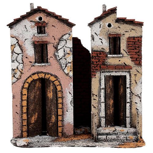 Couple maisons deux étages liège crèche napolitaine 25x25x10 cm pour santons 10 cm 1