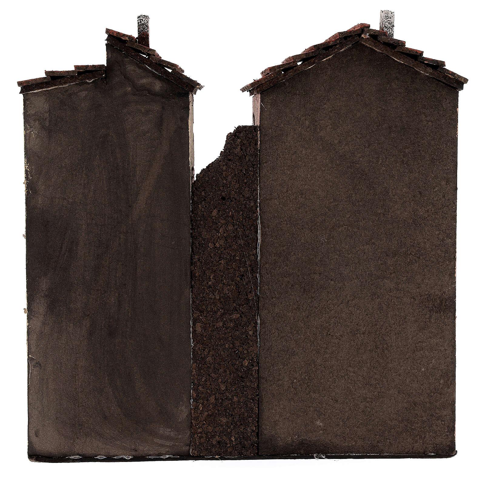 Coppia case due piani sughero presepe napoletano 25x25x10 per statue 10 cm 4