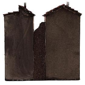 Coppia case due piani sughero presepe napoletano 25x25x10 per statue 10 cm s4