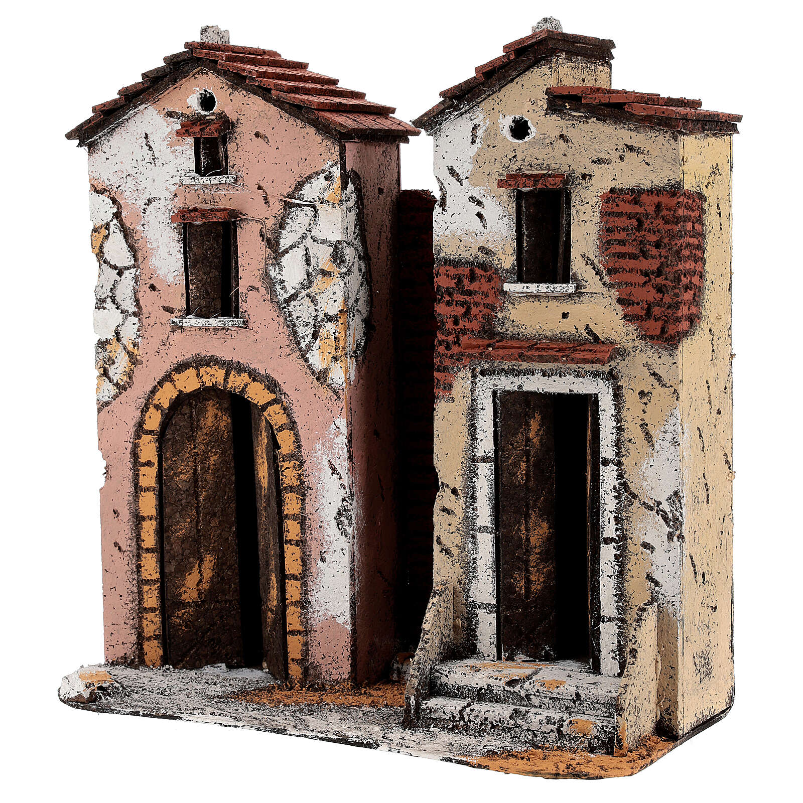Couple of two-storied houses cork setting for Neapolitan Nativity Scene with 10 cm figurines 25x25x10 cm 4