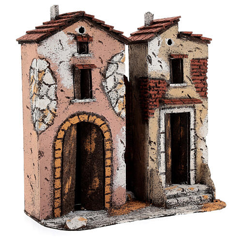 Couple of two-storied houses cork setting for Neapolitan Nativity Scene with 10 cm figurines 25x25x10 cm 2