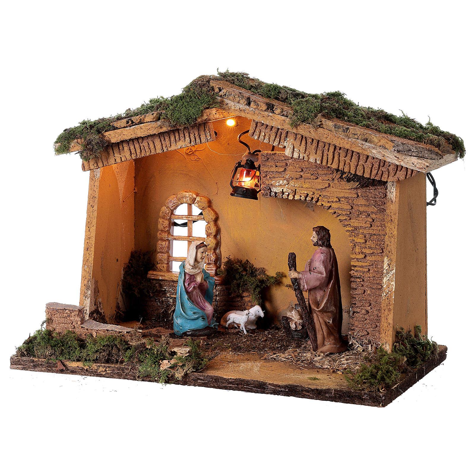 Barn with lantern 25x30x20 cm for Nativity scene 10 cm 4