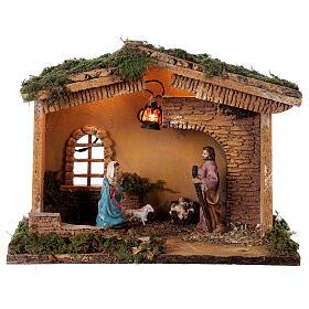 Barn with lantern 25x30x20 cm for Nativity scene 10 cm s1