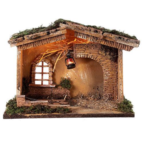 Barn with lantern 25x30x20 cm for Nativity scene 10 cm 5